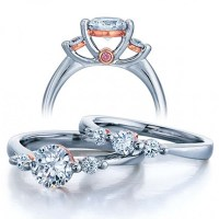 Three Stone Wedding Ring Set for Her - JeenJewels