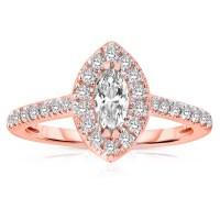 Half Carat Marquise cut Halo Diamond Engagement Ring in ...