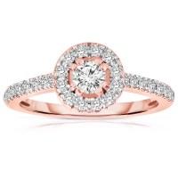 Half Carat Round cut Halo Diamond Engagement Ring in Rose ...