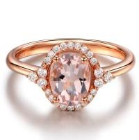 Vintage 2 Carat Morganite and Diamond Engagement Ring in ...