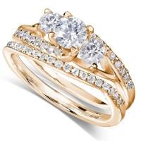 GIA Certified 1 Carat Trilogy Round Diamond Wedding Ring ...