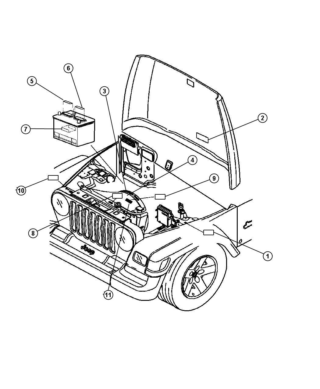 jeep wrangler engine compartment diagram