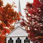 New Salem MA church with maples all around
