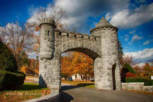 a Castle Like front gate to the hillside cemetery in Monson Massachusetts