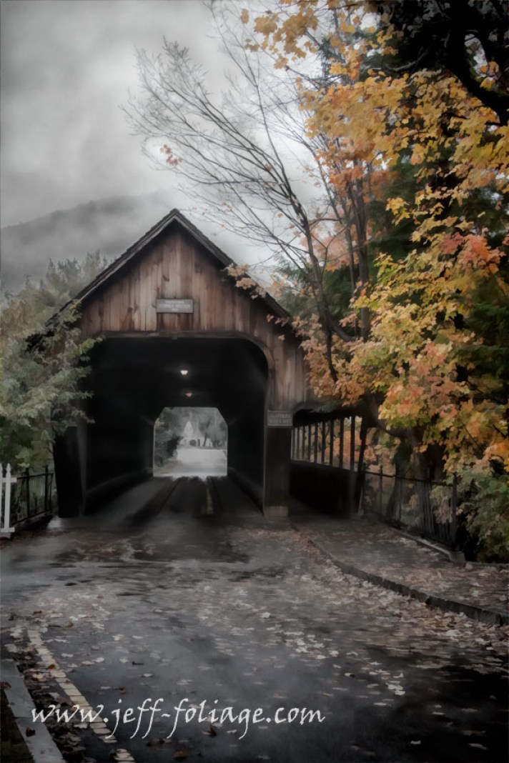 misty, foggy day in Woodstock Vermont