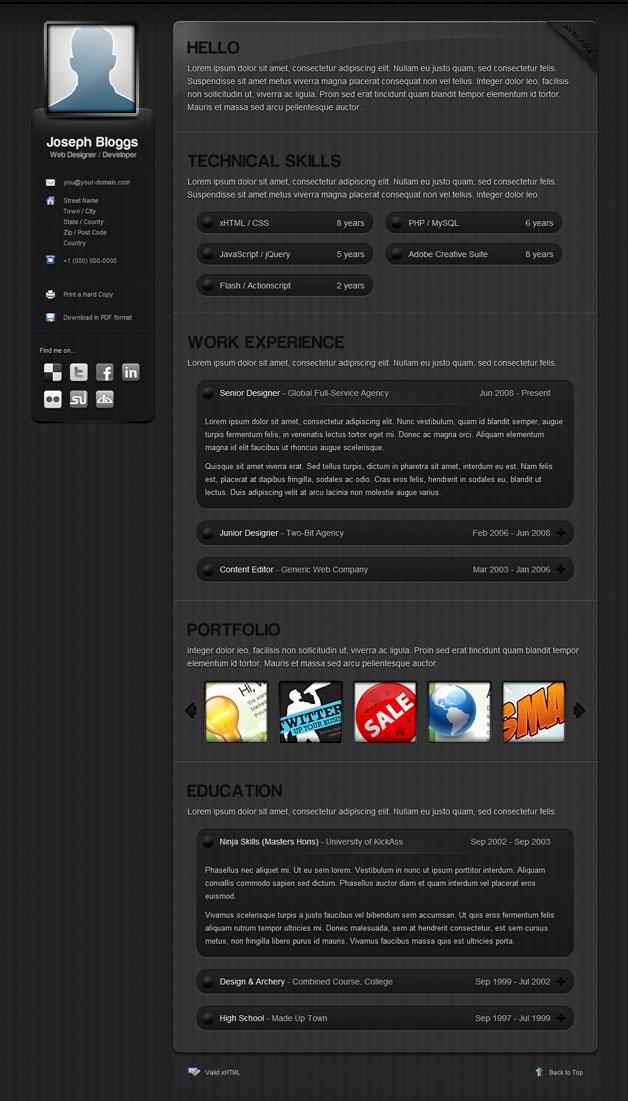 pinstripe resume template