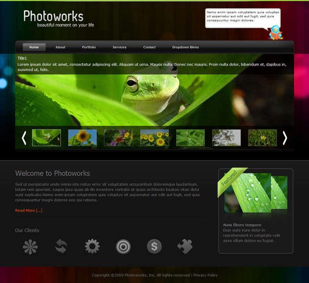 Photography Website Templates - php templates