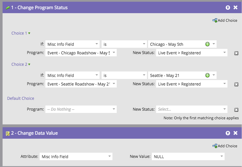 Temporary fields in a Marketo smart campaign