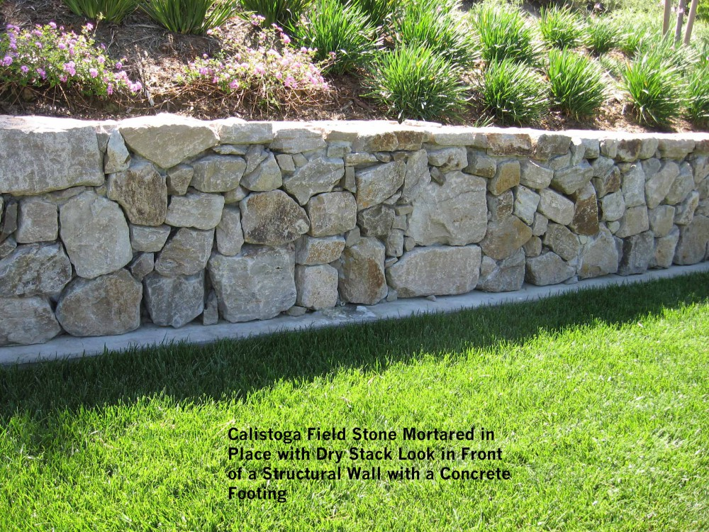 Calistoga-Field-Stone-Mortared-in-Place-with-Dry-Stack-Look-in - Design Of Retaining Walls Examples