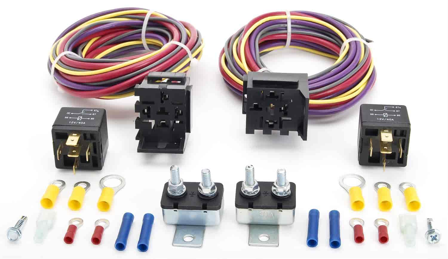 JEGS 10569 Manual-Controlled Dual Fan Wiring Harness and Relay Kit