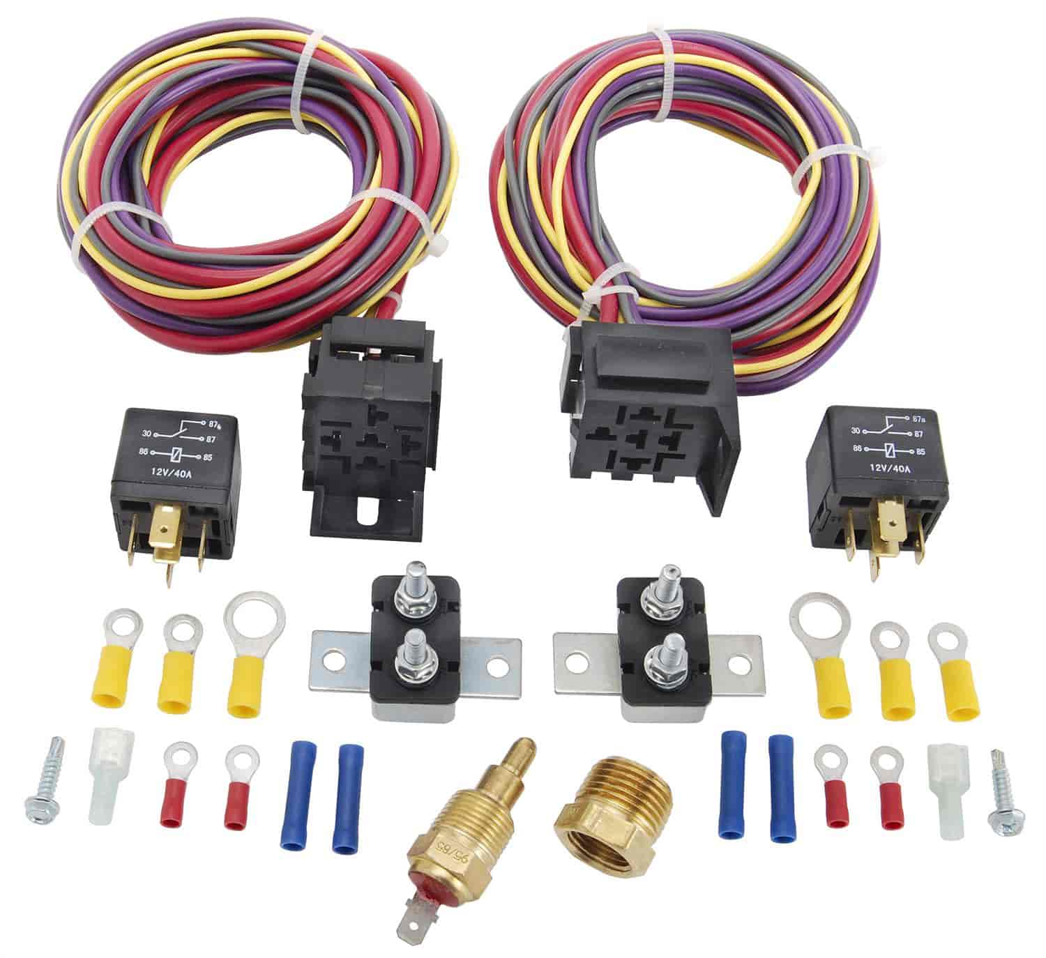 JEGS 10571 Dual Fan Wiring Harness  Relay Kit 30 Amp JEGS