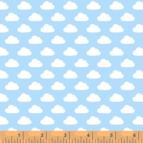 Tejido nubes en fondo azul - Mercería Creativa - fondo nubes