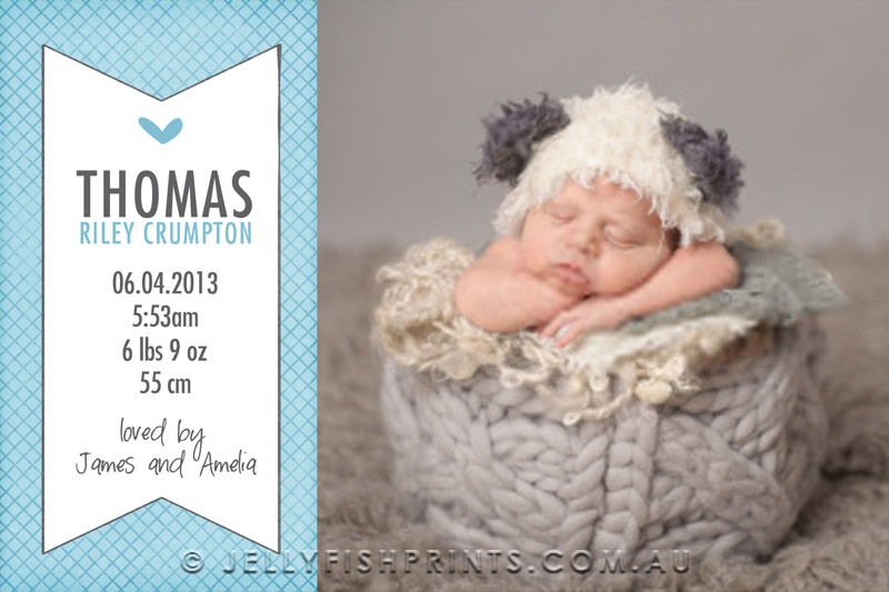 Printable DIY Baby Boy Announcement Cards