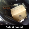 Wine is safely secured in vehicle with strong seat belt