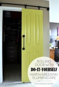 DIY Rolling Door Hardware using Plumbing Pipe