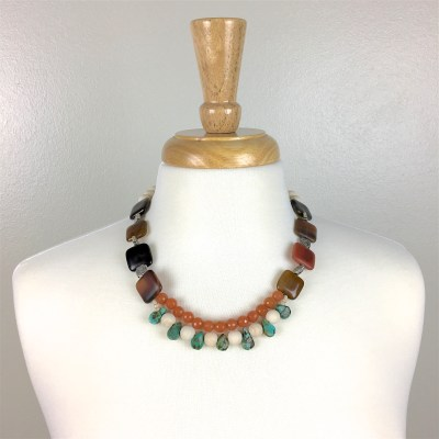 Agate, Turquoise, and Aventurine Necklace