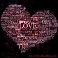 heart shaped out of words with different meanings for the word love
