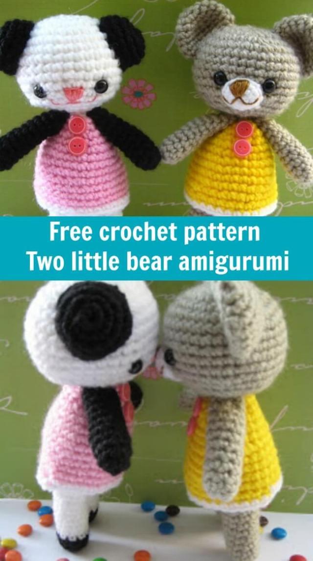 free crochet pattern two little bear amigurumi