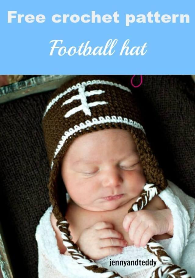 free crochet pattern football hat by jennyandteddy