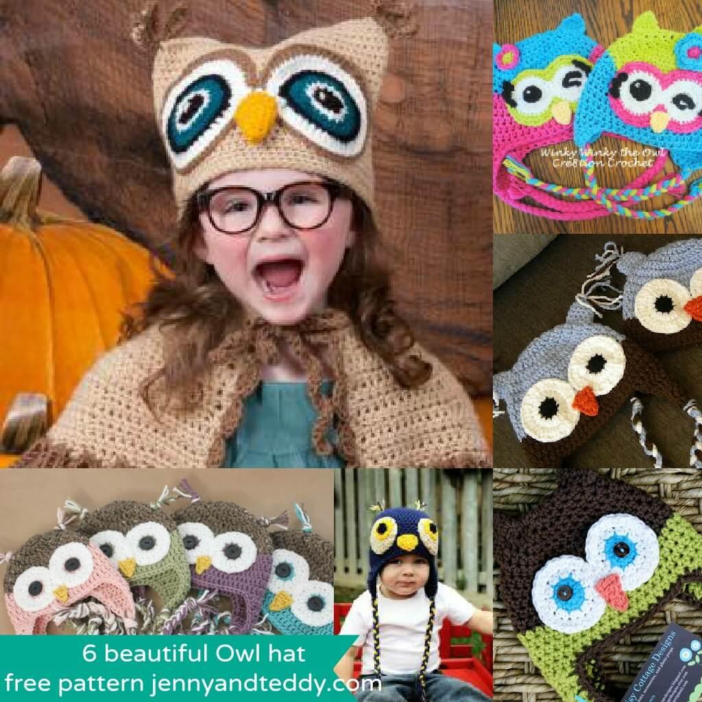 6 beautiful crochet Owl hat free pattens