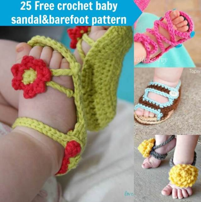 Crochet Baby Toe Sandals Free Pattern : 25+Free Crochet baby Sandals and barefoot patterns