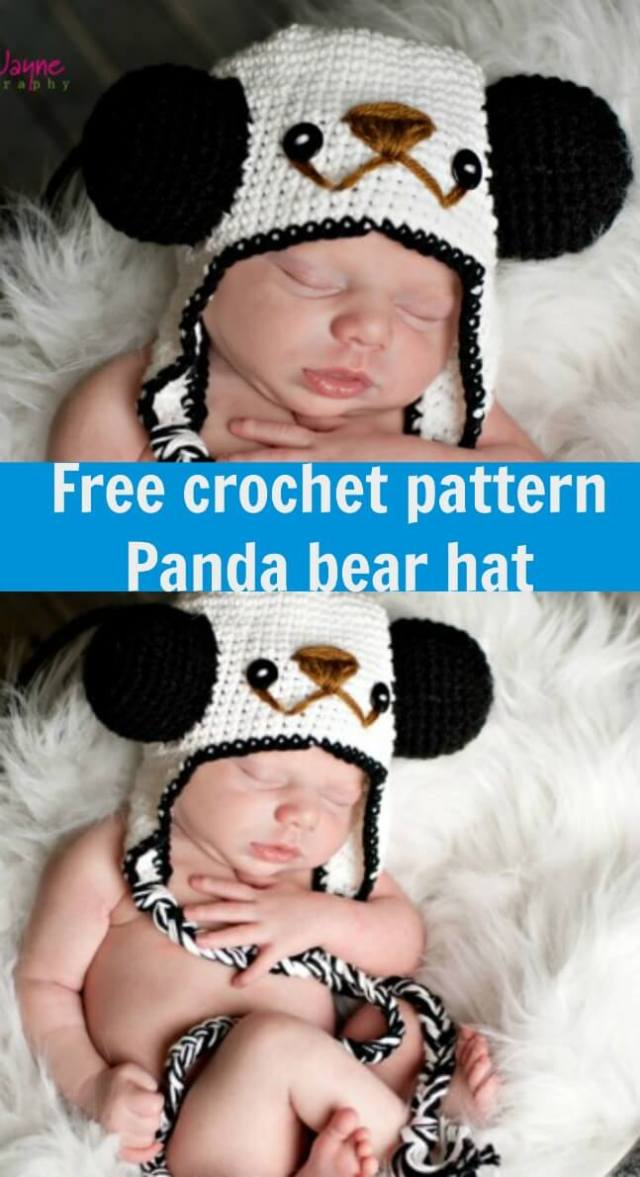 free crochet pattern panda bear hat by jennyandteddy
