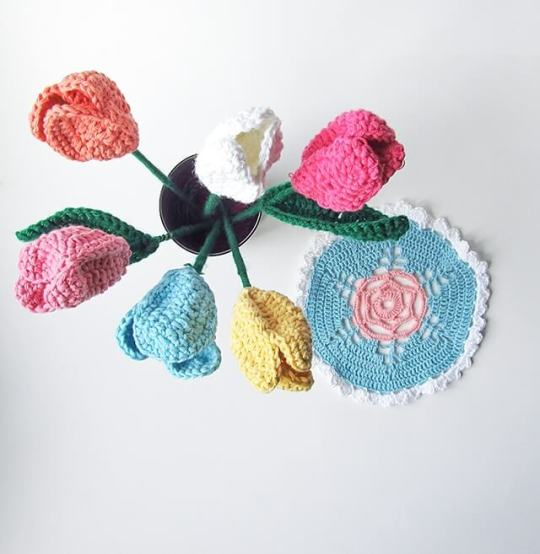 3.easy free crochet flower tulips1_1jpg