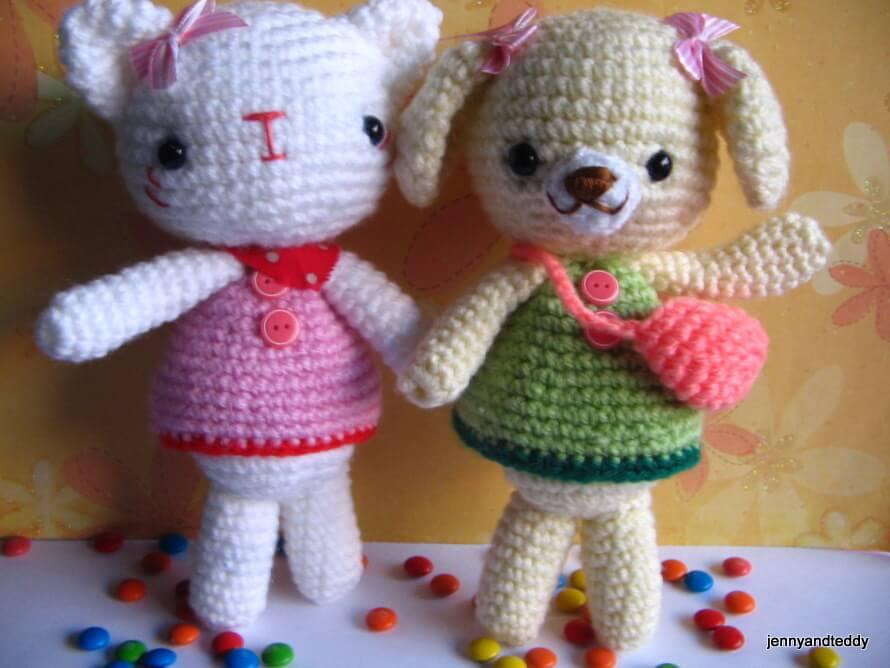 Free Pattern Crochet Kitten : Emma Sweet little Bear and Emily kitten free Amigurumi ...