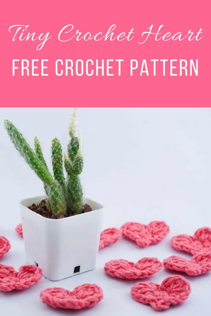 Tiny crochet heart free pattern