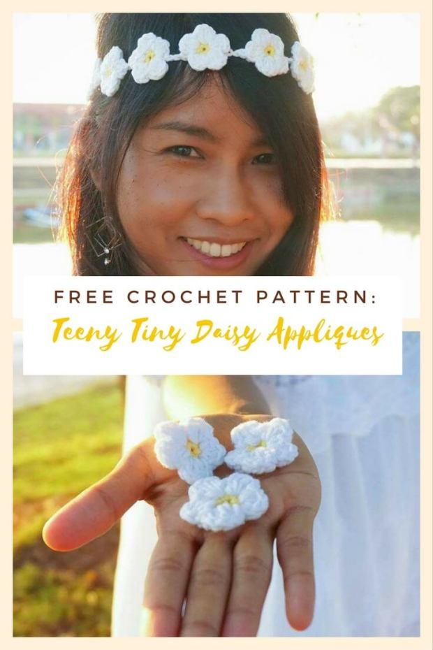 IMAGE 167 - TEENY TINY DAISY APPLIQUE free crochet pattern