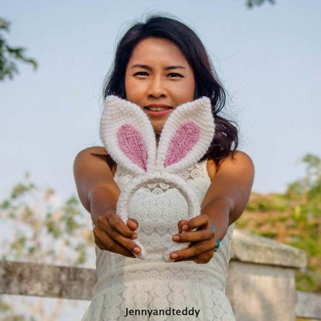easy crochet easter bunny ear headband free pattern
