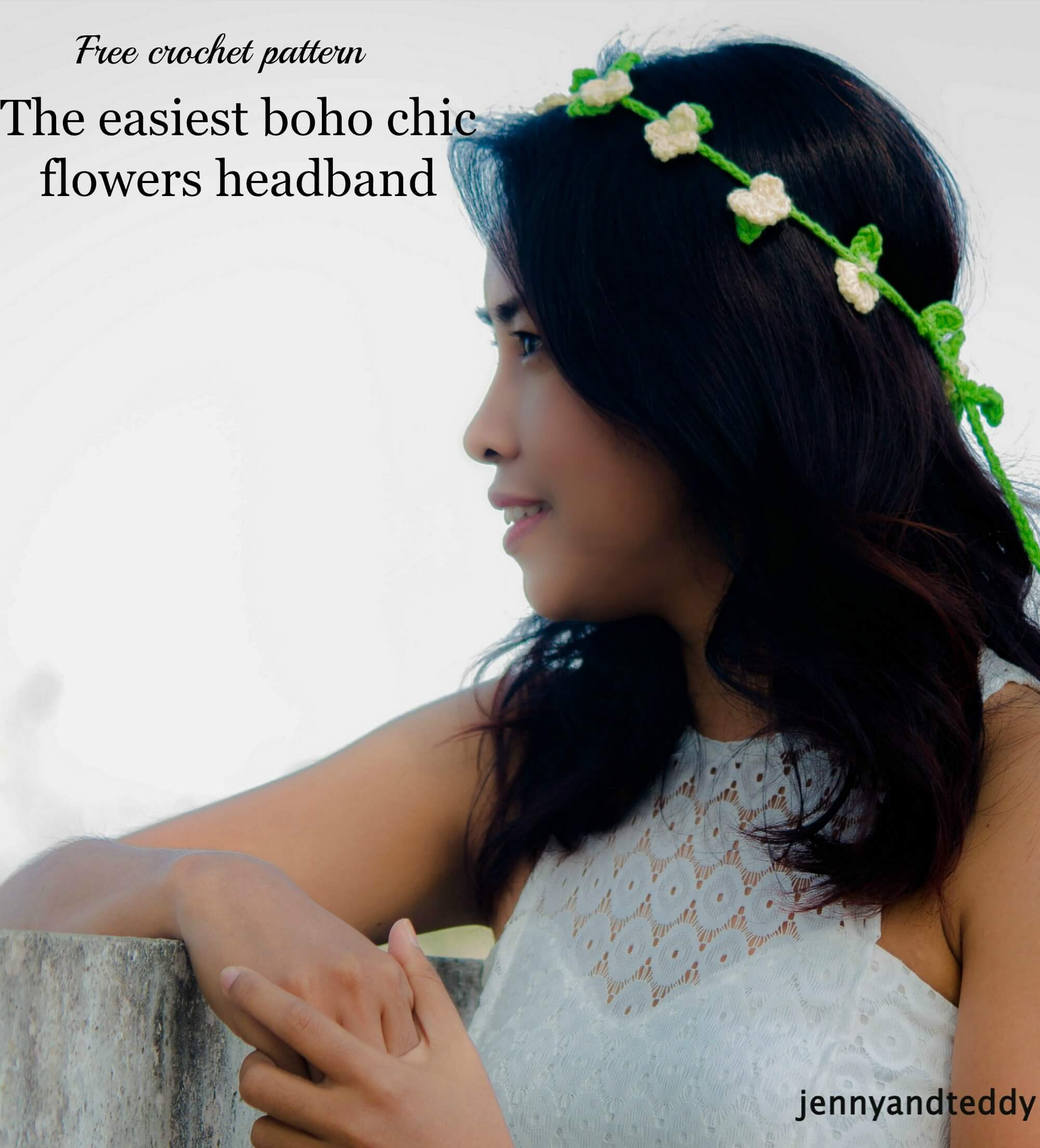 Boho Chic Flowers Headband free crochet pattern