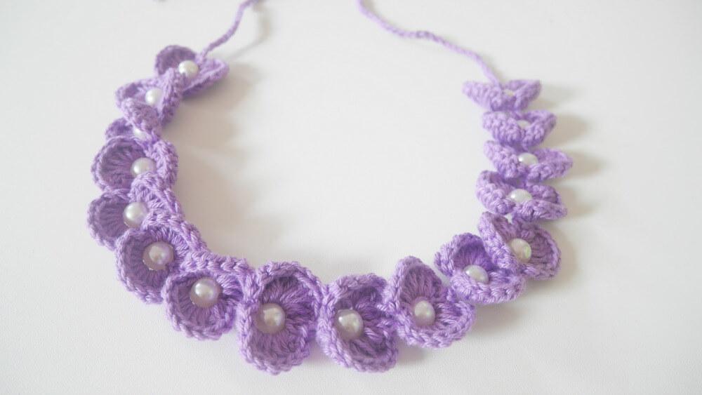 pretty scallop crochet beaded headband free pattern