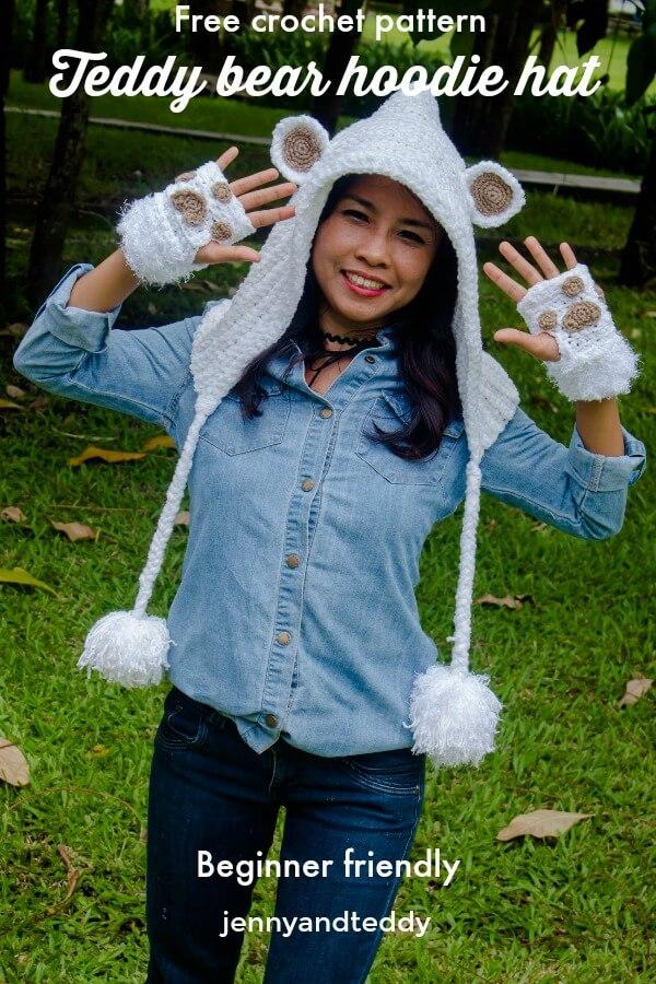 free crochet pattern teddy bear hoodie hat beginner friendly by jennyandteddy