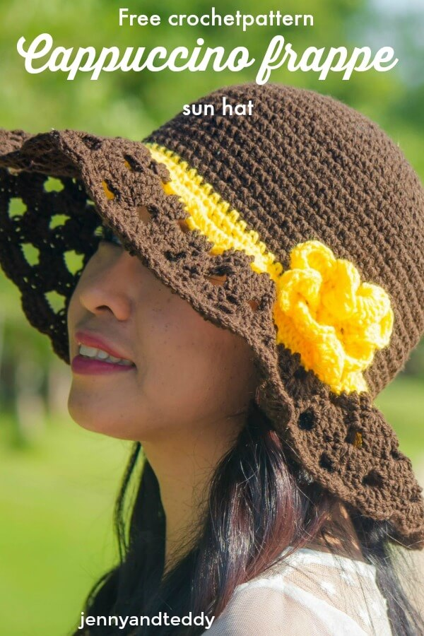 free crochet sun hat with wide brim cappuccino frappe sun hat tutorial