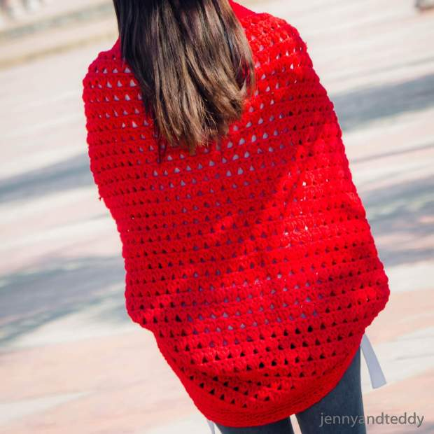 triangle stitch crochet cocoon cardigan