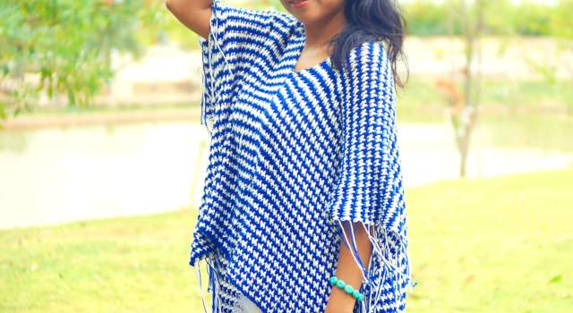 bohemiean style crochet poncho beginner friendly made from 2 rectangle