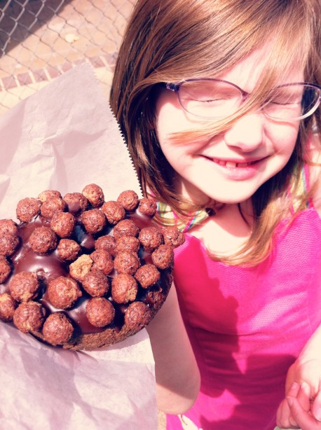 Chocolate doughnut with Cocoa Puffs from VooDoo Doughnut