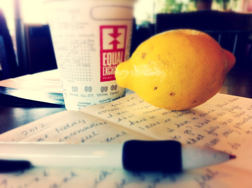 Journaling, coffee, and a lemon. via @jennyonthespot