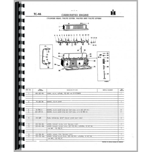 Farmall Super MD Tractor Parts Manual