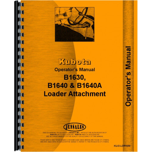 Kubota B1640A Loader Attachment for B7200 Tractor Operators Manual