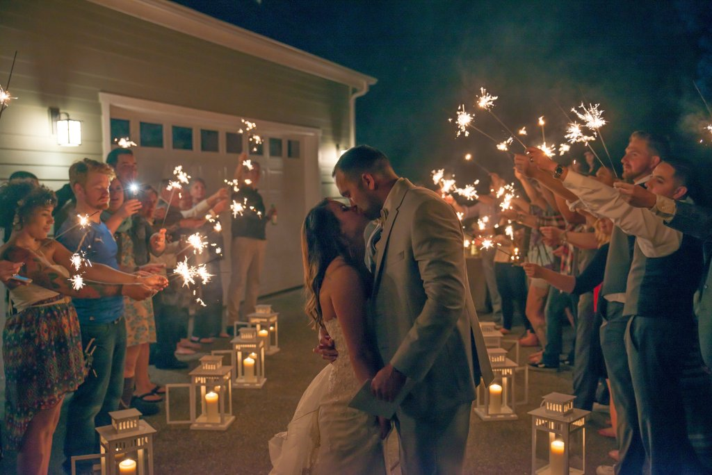 Bride & Groom Exit, Sparklers, Lanterns, Kiss
