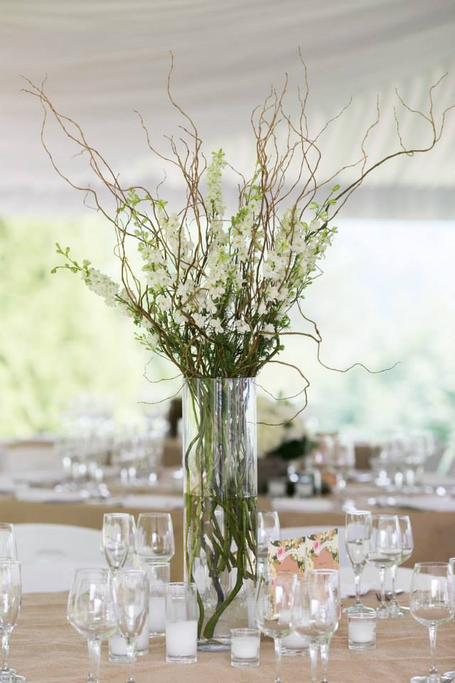 Gig Harbor wedding, Tall centerpiece