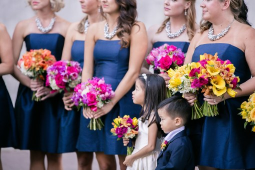 Union Station Tacoma Wedding || Photo: Genesa Richards Photography ||Bridesmaids with Flower Girl & Ring Bearer