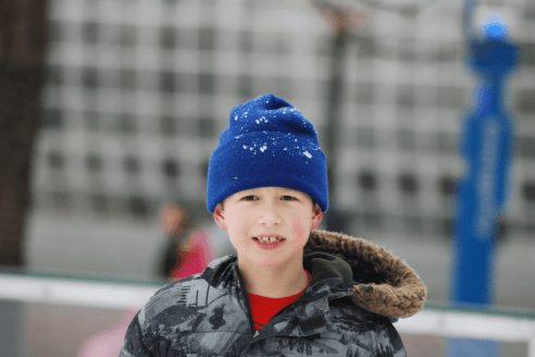 Boy in a ski cap in winter