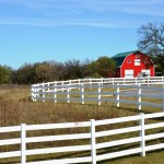 Red Barns and Autumn Road