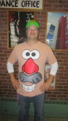 """History teacher Mr. James Shotter wears a potato head costume as a tribute to the famous character in the Oscar-winning film """"Toy Story."""""""