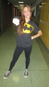 "Junior Brittany Goldstein poses for the camera wearing her Batman shirt. ""I finally get to wear the costume I never wore last year,"" said Goldstein."