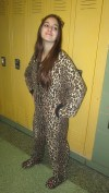 Junior Rebekah Berger shows her fierce side by wearing a leopard jumpsuit.