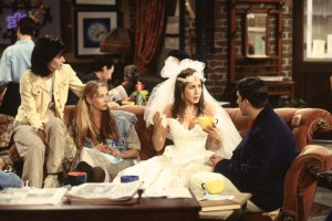 Rachel Green reunites with Monica Geller in Central Perk after leaving her fiance at the alter.